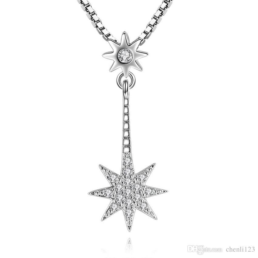 CZ Collana con diamanti a forma di stella Collana con ciondoli per donna Collana con ciondolo a forma di collana Gioielli di moda vintage placcati in oro bianco