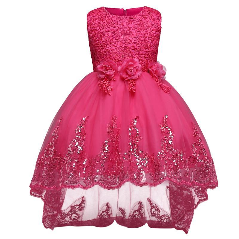 Compre Vestido De Novia De Encaje Blanco Vestido De Niña De Lentejuelas Vestido De Novia Pequeña Dama De Honor Elegante Vestido De Fiesta Para Niñas