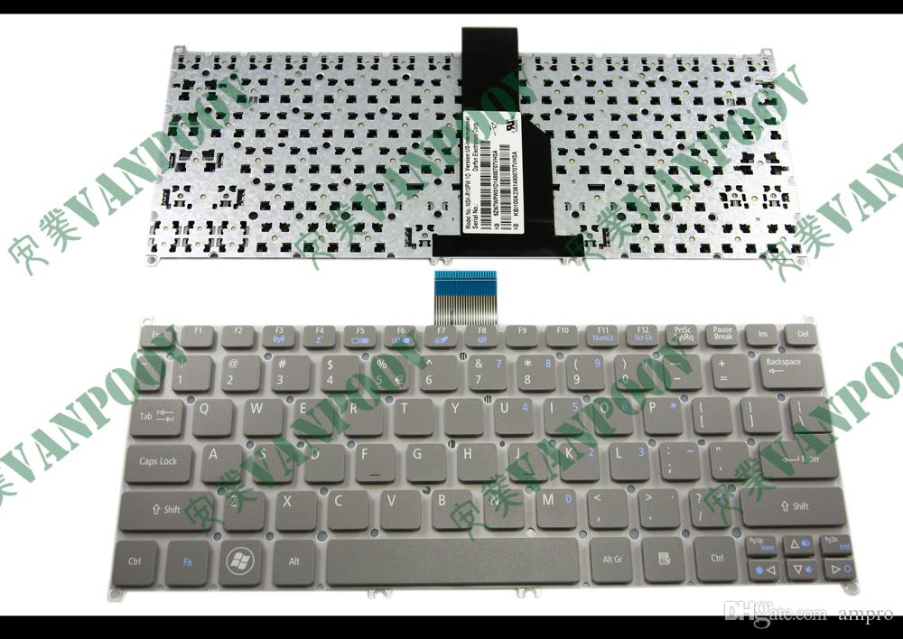 Novo teclado de notebook para Acer Aspire Ultrabook S3 S3-391 S3-951 S3-371 S5 S5-391 725 756 TravelMate B1 B113 B113-E B113-M cinza US