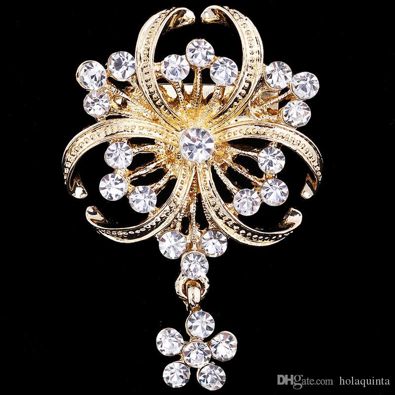 Fashion New scarf clasp jewelry pendants brooch Gold Clover Flower Rhinestone Brooches wedding clip For Women And Girl