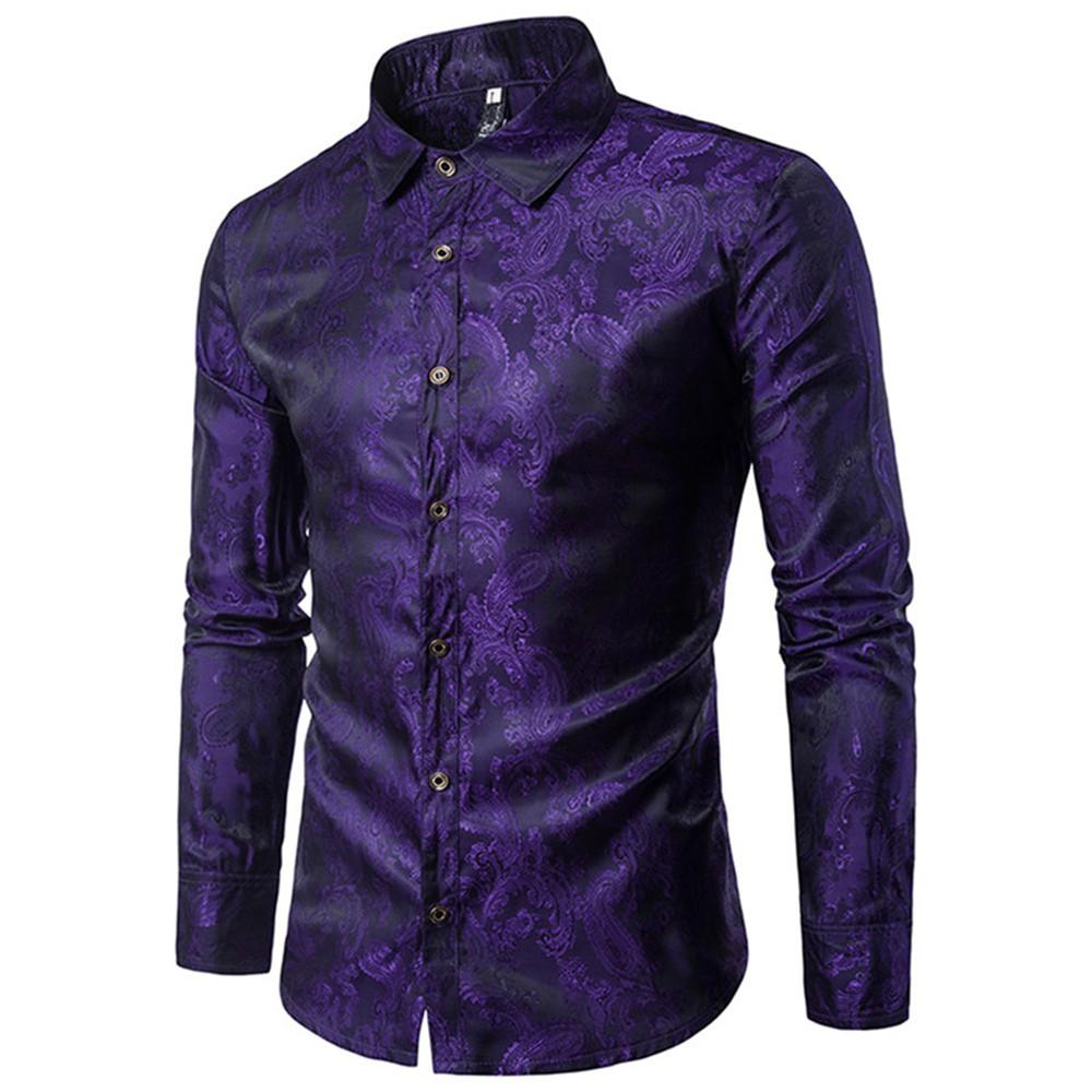 Noble Style Embroidered Printed Man Shirt Gentleman Party Wear Tops Long Sleeve England Men Vintage Blouse Fashion Golden Color
