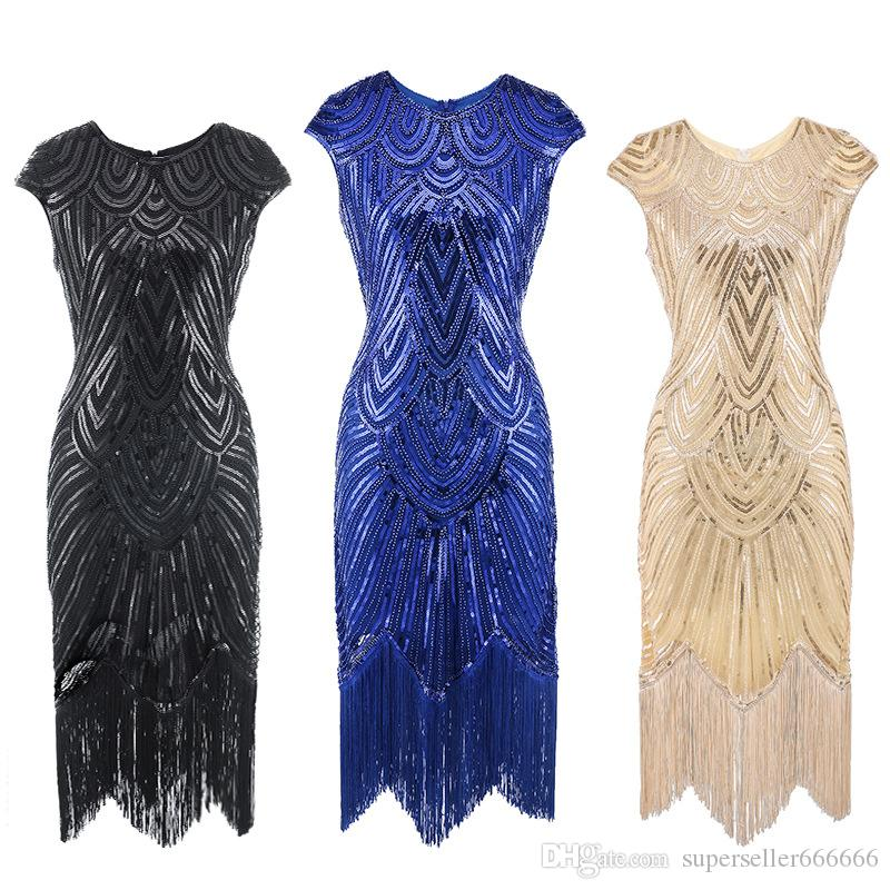 Women Luxury Dress Sexy Slim was thin Fringe sequins banquet Beads Tassel Celebrity Evening Dress Retro embroidery Dance Party dresses