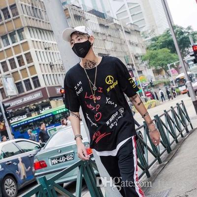 2018 Harajuku vento hip-hop manica corta T-shirt da uomo, street style personalità graffiti, mezza manica BF allentato hip hop cinque punti