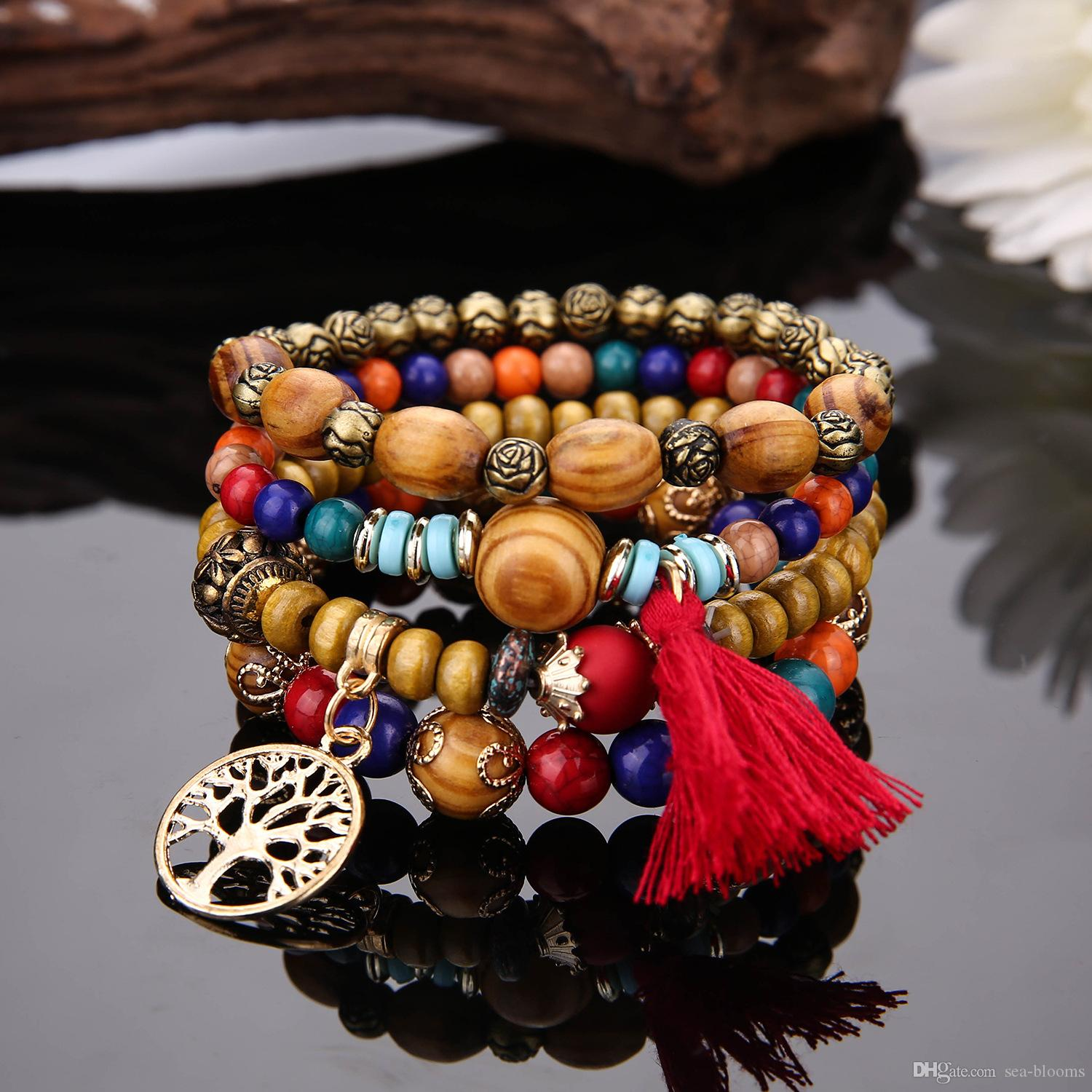 Newest Bohemian Tree Of Life Multilayer Wooden Beads Tassel Bracelets Stretch Mala Bangles Bracelet Elastic Hand String Jewelry Gift G107S F