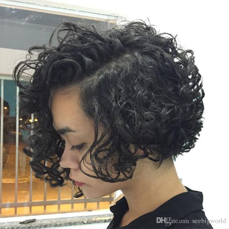 Vente chaude cheveux brésiliens courte perruque frisée Simulation perruque courte de cheveux humains bob en stock
