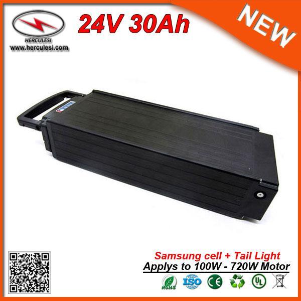 Batterie de vélo électrique puissante 700W 24V 30Ah avec la lumière de queue utilisée S amsung 3.0Ah cellule 30A BMS + 2A CHARGER