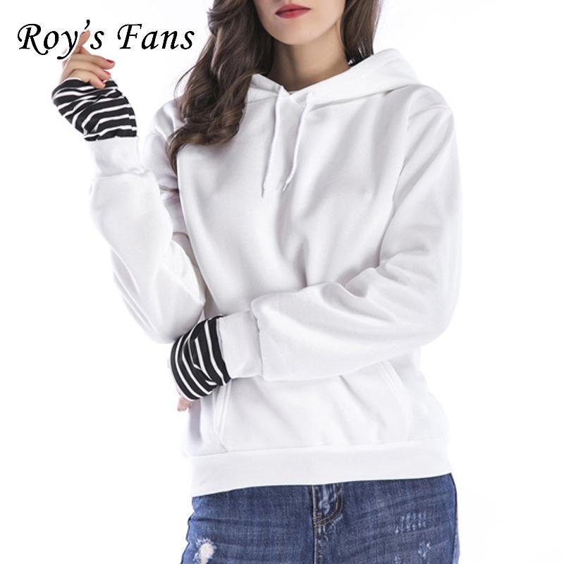 Roy's Fans Fashion Women Solid Felpe a maniche lunghe con cappuccio Felpa in pile allentata Autunno Casual Pullover Felpa