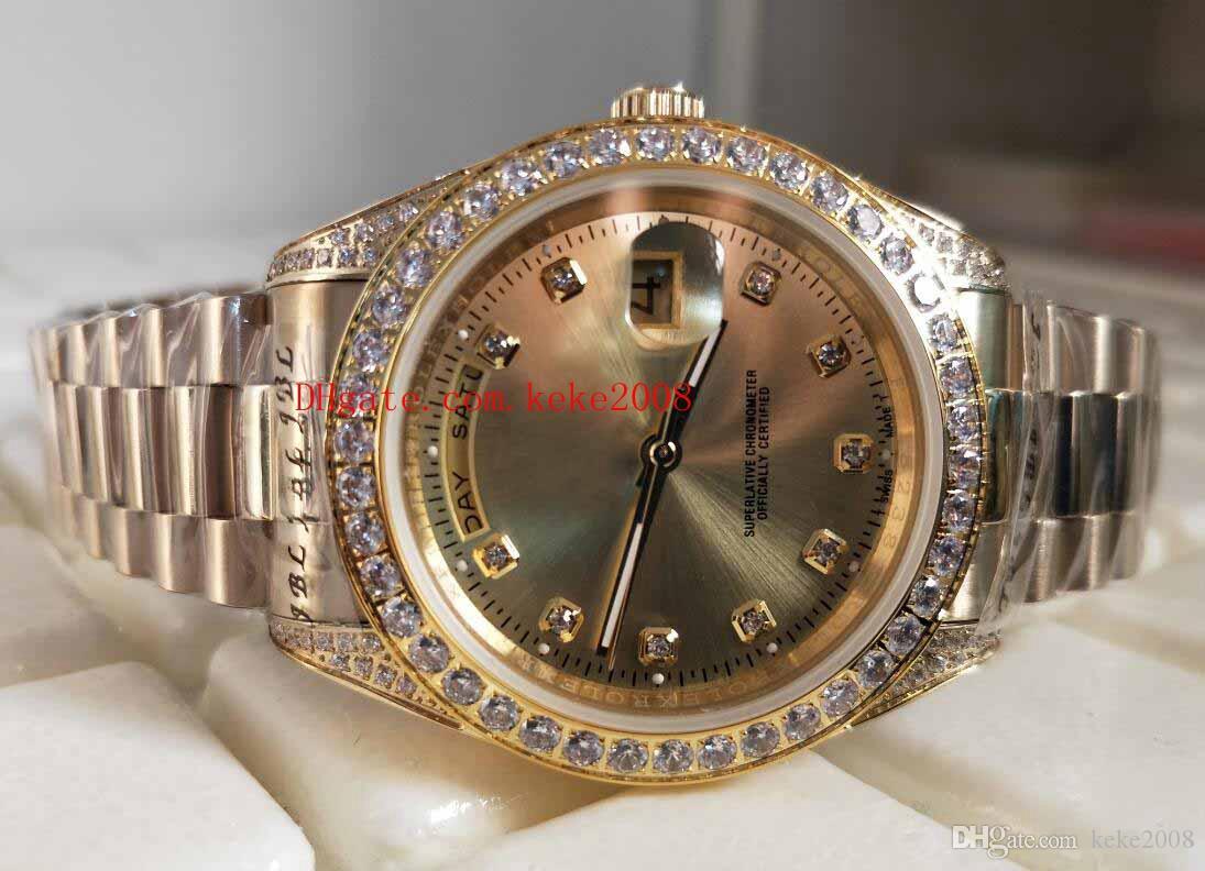 Fabrik Top 36mm EW Damen Gold Tagesdatum 118348 Qualitätsluxus-Stahl Herrenuhren Automatischer mechanischer Präsident Diamond Unisex Watch RNHS