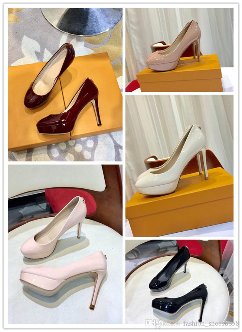 Classic fashion women wear shoes luxury brands with high quality round heads, fine leather, black heels and nude colors are sexy