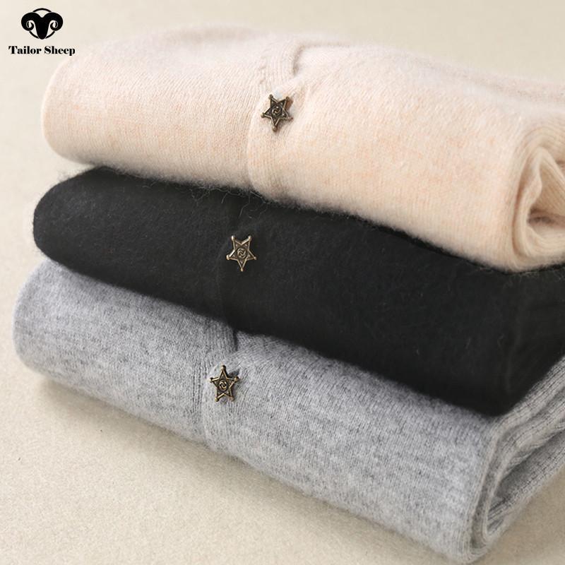 Star fibbia 100% cashmere cardigan donne cappotto sottile sezione corta autunno scollo av collo maglione a maniche lunghe femminile outwear S18101005