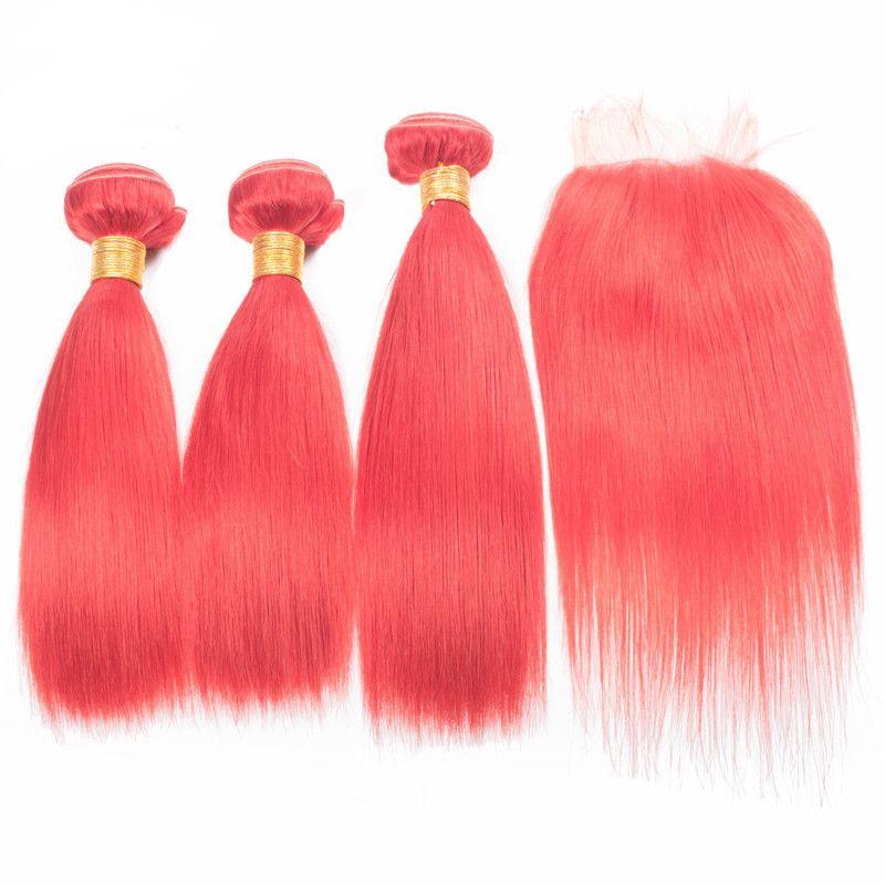 Новые приходят, как розовые волосы ткет с закрытием кружева горячий цвет прямые пучки волос с 4x4 закрытия бразильские девственные человеческих волос расширения
