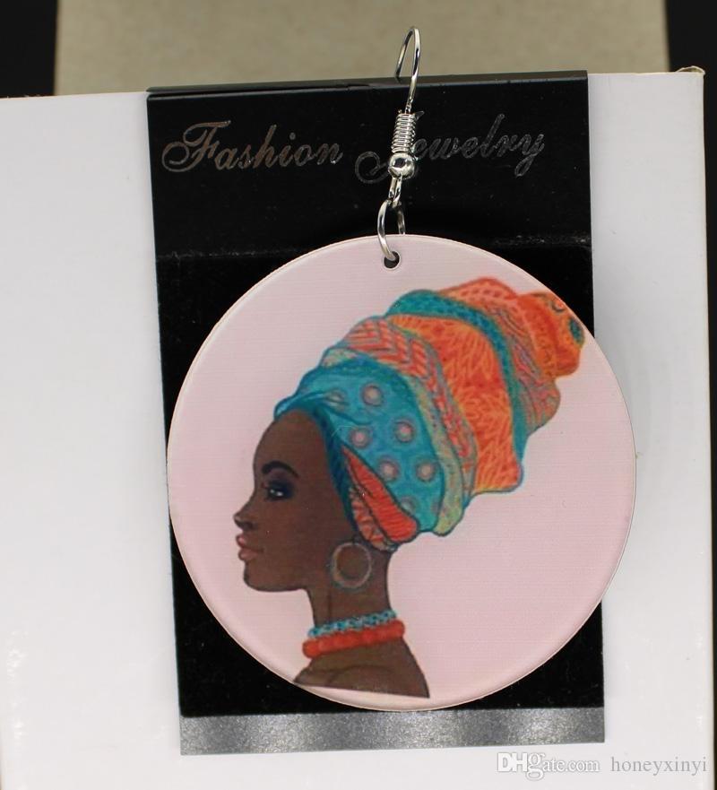 Большие акриловые серьги афро персонализированные пользовательские афро Африки серьги прелести 2 односторонний пользовательский логотип текст изображения