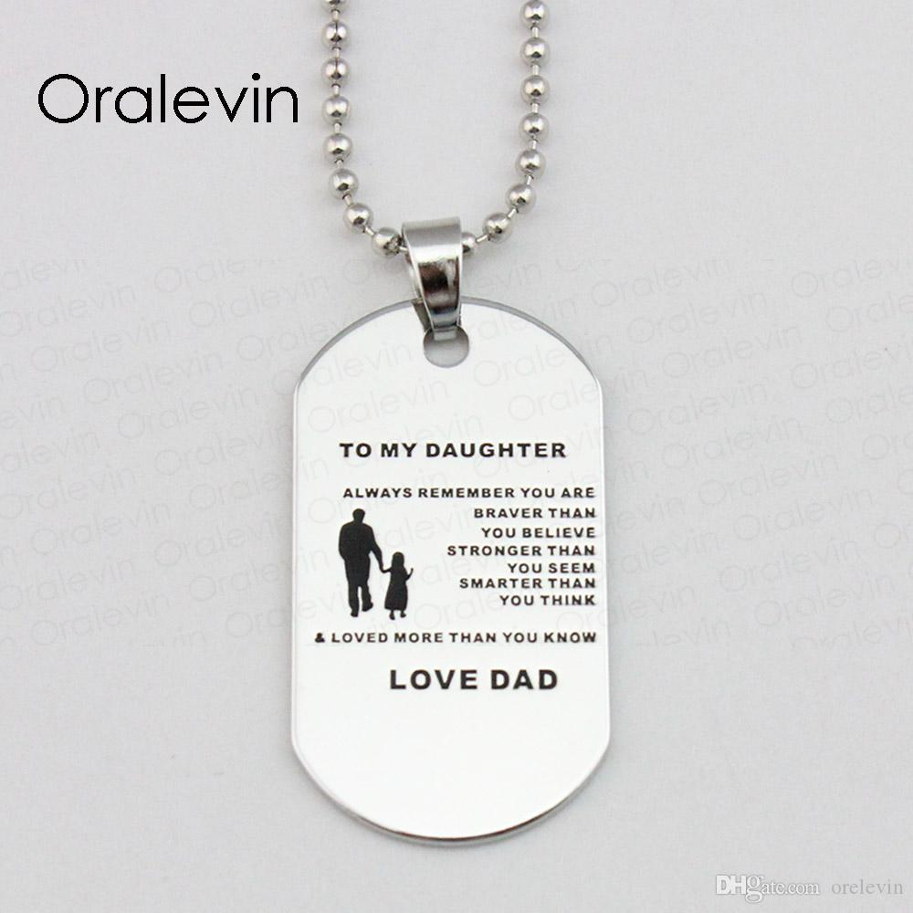 Сжигание любовь вдохновляющие собака тег ожерелье военные ювелирные изделия всегда помните, что вы храбрее моя дочь, Diy ювелирных изделий, 10 шт./ лот, LN1808