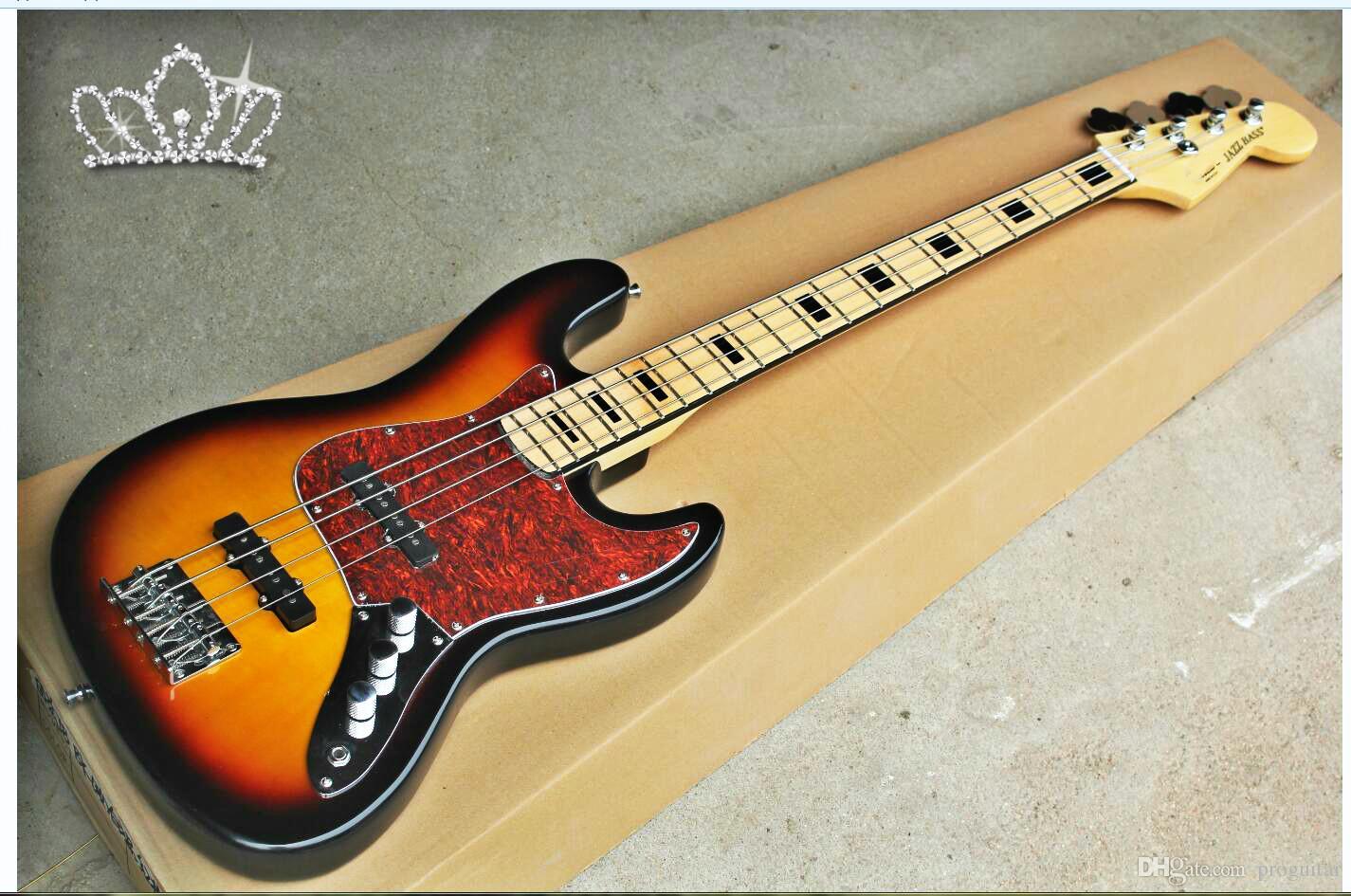 All'ingrosso della fabbrica GYJB-5001 3TS colore rosso guscio di tartaruga piastra hardware Chrome pickup EMG Jazz Bass Chitarra Elettrica, spedizione gratuita