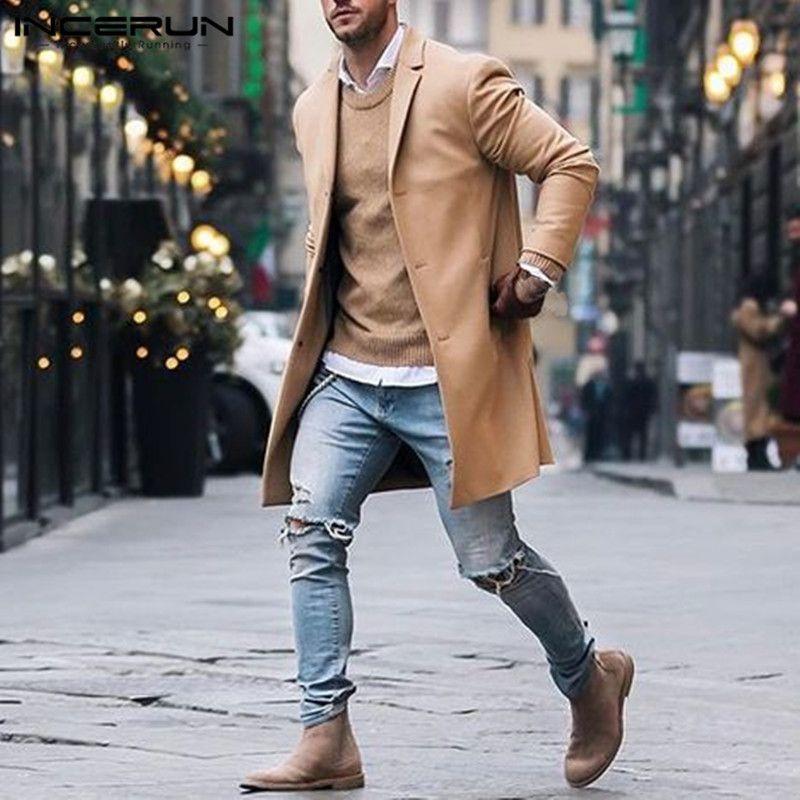 세련된 우아한 클래식 재킷 남자 롱 재킷 코트 트렌치 슬림 맞는 아웃웨어 Hombre 패션 겨울 남자 옷 오버 코트
