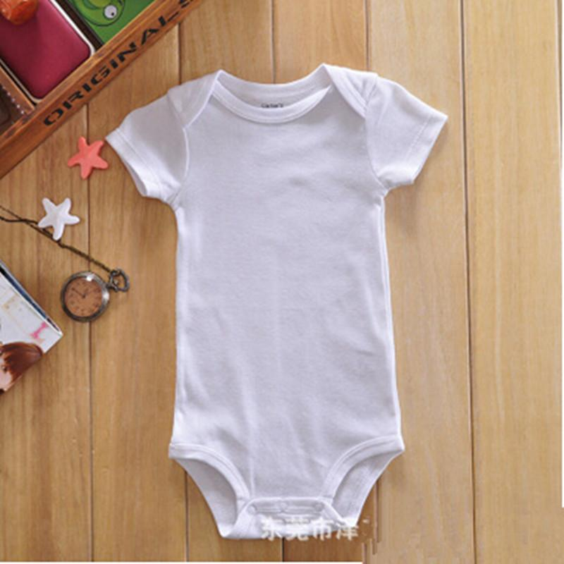 Atacado Cor Sólida Bodysuit Bebê Branco de Manga Curta Bebê Recém-nascido Onesie 3-24 M 30 Pçs / lote Frete Grátis