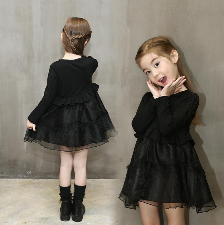 Ropa para niños Vestido para niñas bebés Manga larga Vestido de fiesta Bebé Tutu Vestido de costura para niños Encaje negro