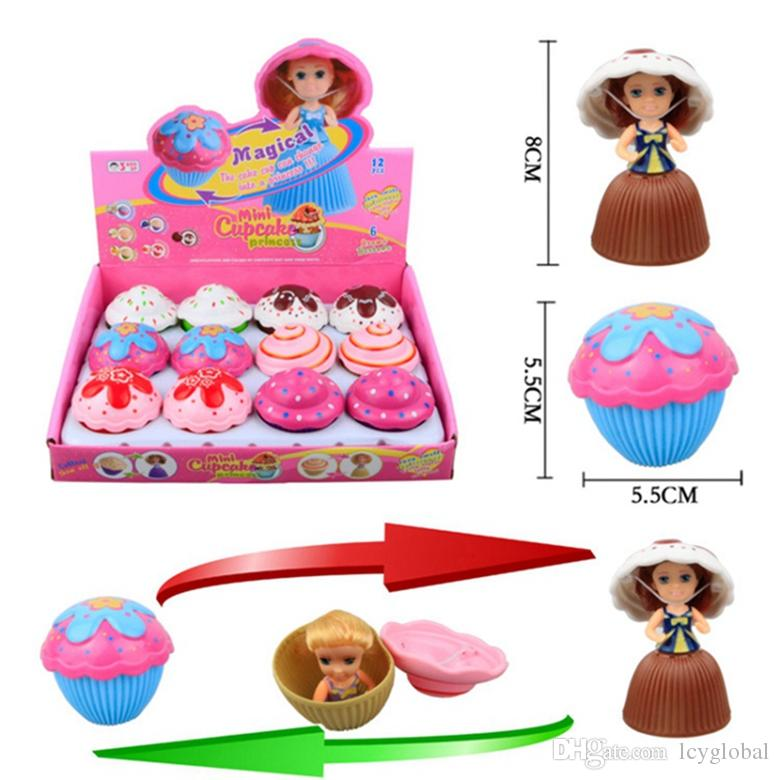 12pcs/lot 5.5cm Mini Magical Cupcake Scented Princess Doll Reversible Cake Transform to Mini Princess Doll 6 Roles with 6 Flavors