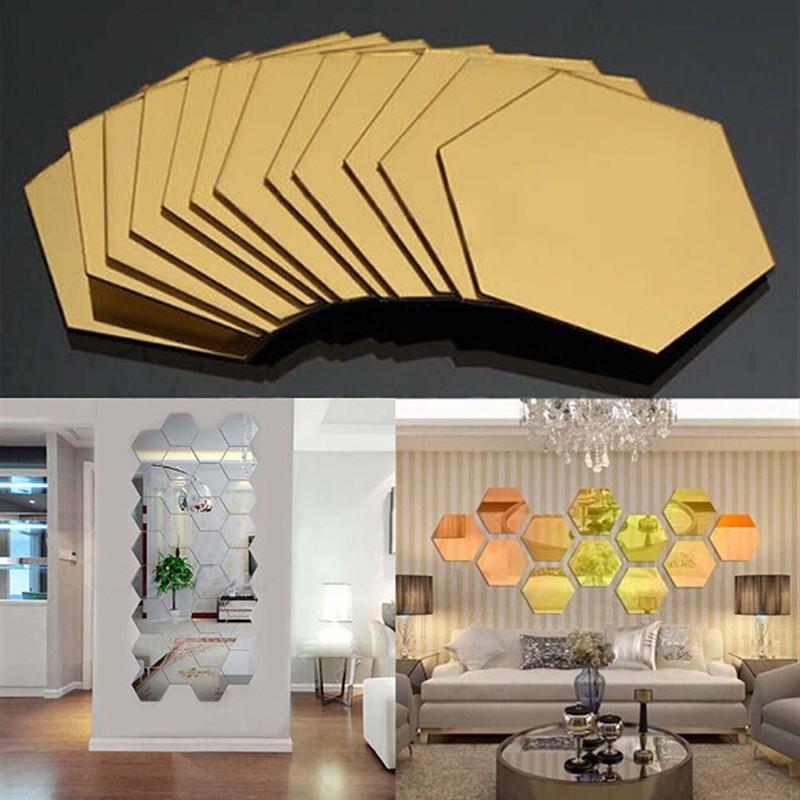 12 Pçs / set Hexagonal Espelho Removível Adesivo De Parede 3D Espelho Azulejo Decalque DIY Home Decor Sala QB602783