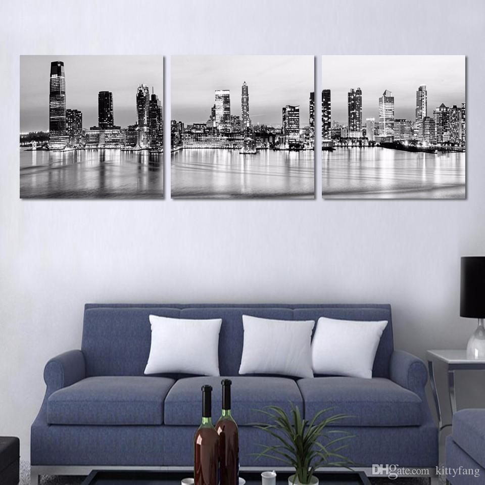 3 Pcs Black New York City Night Picture HD Printed Canvas Prints Painting Wall Pictures For Living Room Wall Art No Frame