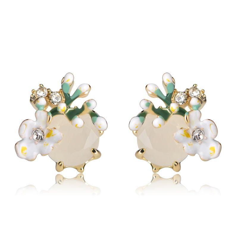 Toptan Emaye Yeşil Çiçekler Saplama Küpe Kadınlar Kız Kristal Sütlü Taş Küçük Boyutu Alaşım Düğün Kulak Takı Pendientes