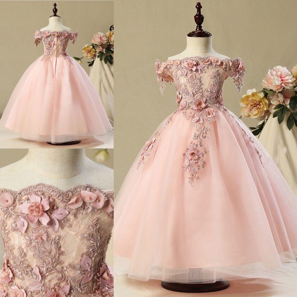 Flower Girls Dresses Puffy Skirt Full length Little Toddler Infant Wedding Party Communion Forml Dress
