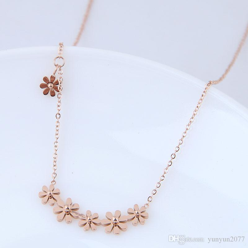 High-grade Fine Jewelry Accessories Titanium Steel Sunflower Pendant Real Rose Gold Charm Chokers Collar Sweater Necklaces For Women No Fade