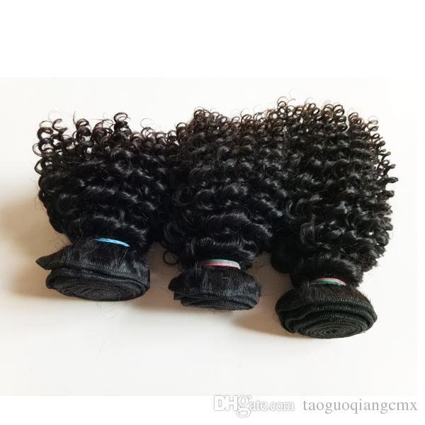 Beauté extensions de cheveux humains vierge européenne brésilienne type bob court 8-12inch cheveux crépus bouclés à double trame 100 g / pc 3pcs remy cheveux indiens