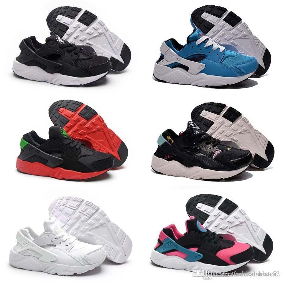 buy popular 458f9 c3b18 2017 Black Red Air Huaraches Kids Running Shoes For Boys Girls White Blue  Sneakers Huarache Children s Trainers Sport Shoes Size 11C-3Y