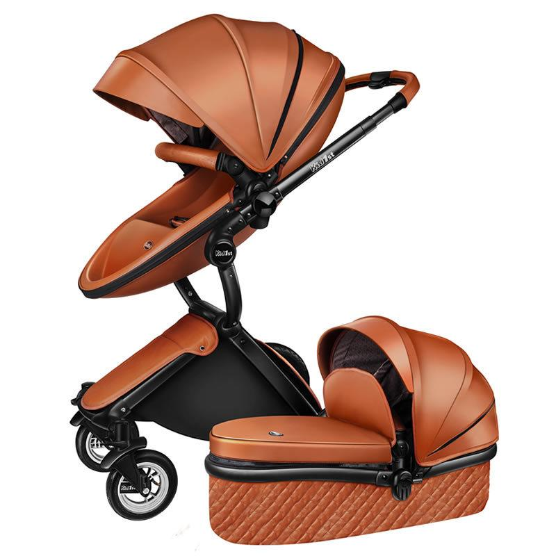 High Quality PU Leather Baby Stroller With Independent Sleeping Basket, 2 in 1 Baby Cart , 4 Wheels Pushchair, Egg Shaped