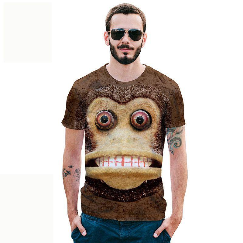 2018 été nouveau sport chemise t-shirt à manches courtes hommes créatifs Anime Monkey impression 3D T-shirt grande taille Street hipsters S-2XL