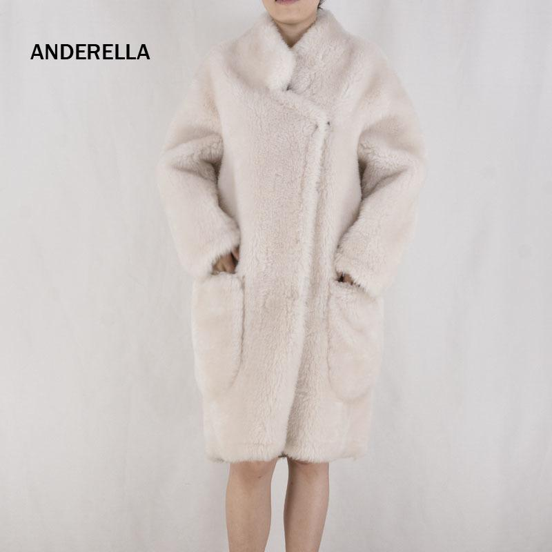 ANDERELLA Sheepskin Coat Wool Fur Womens Winter Jas Dames Fashion 2018Natural Real Merino Sheep Fur Coat For Women Collar X-long C18110901
