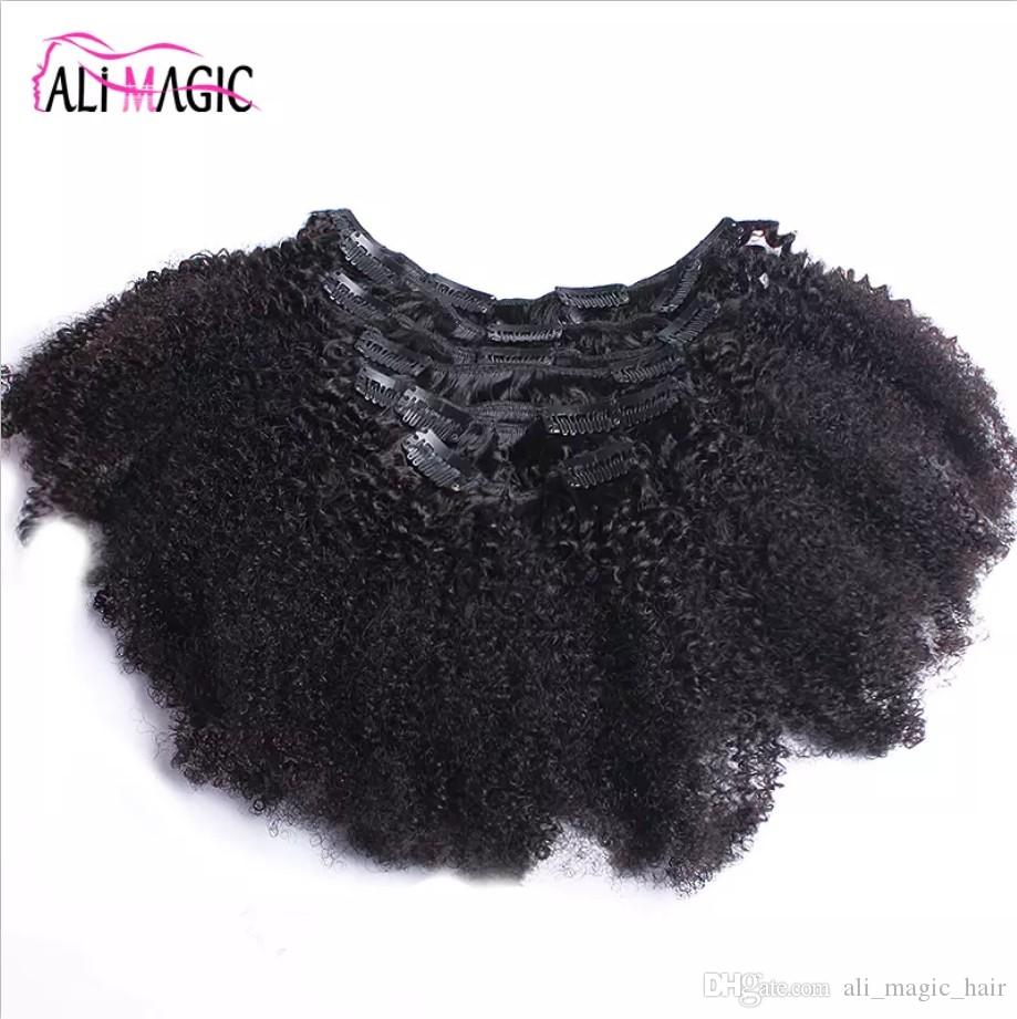 Clip Indian Human Hair Extension Coarse Yaki Kinky Curly Clip In Hair Extensions 100% Brazilian Human Remy Hair 7 Pieces And 120g/Set