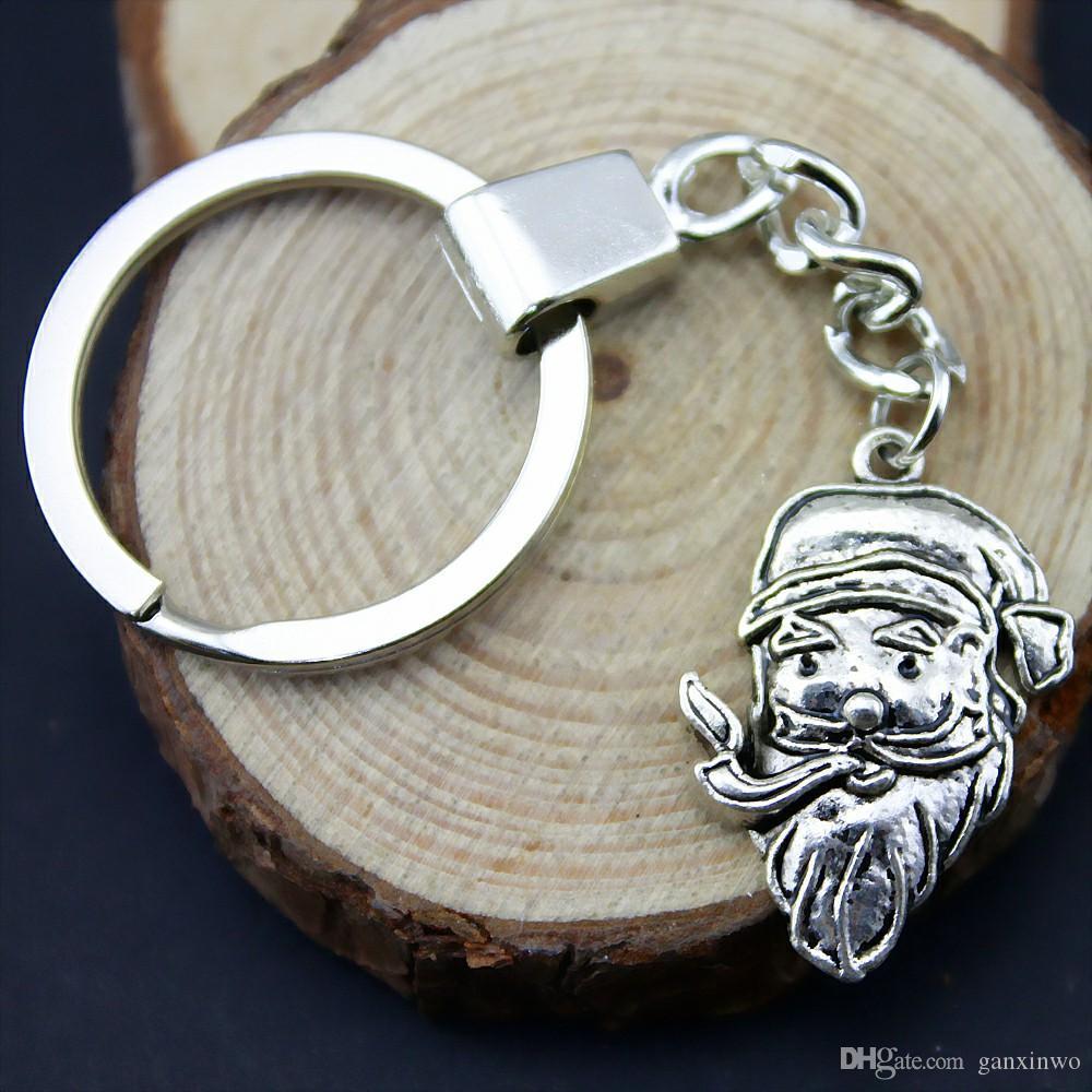 6 Pieces Key Chain Women Key Rings Fashion Keychains For Men Santa Claus 29x18mm