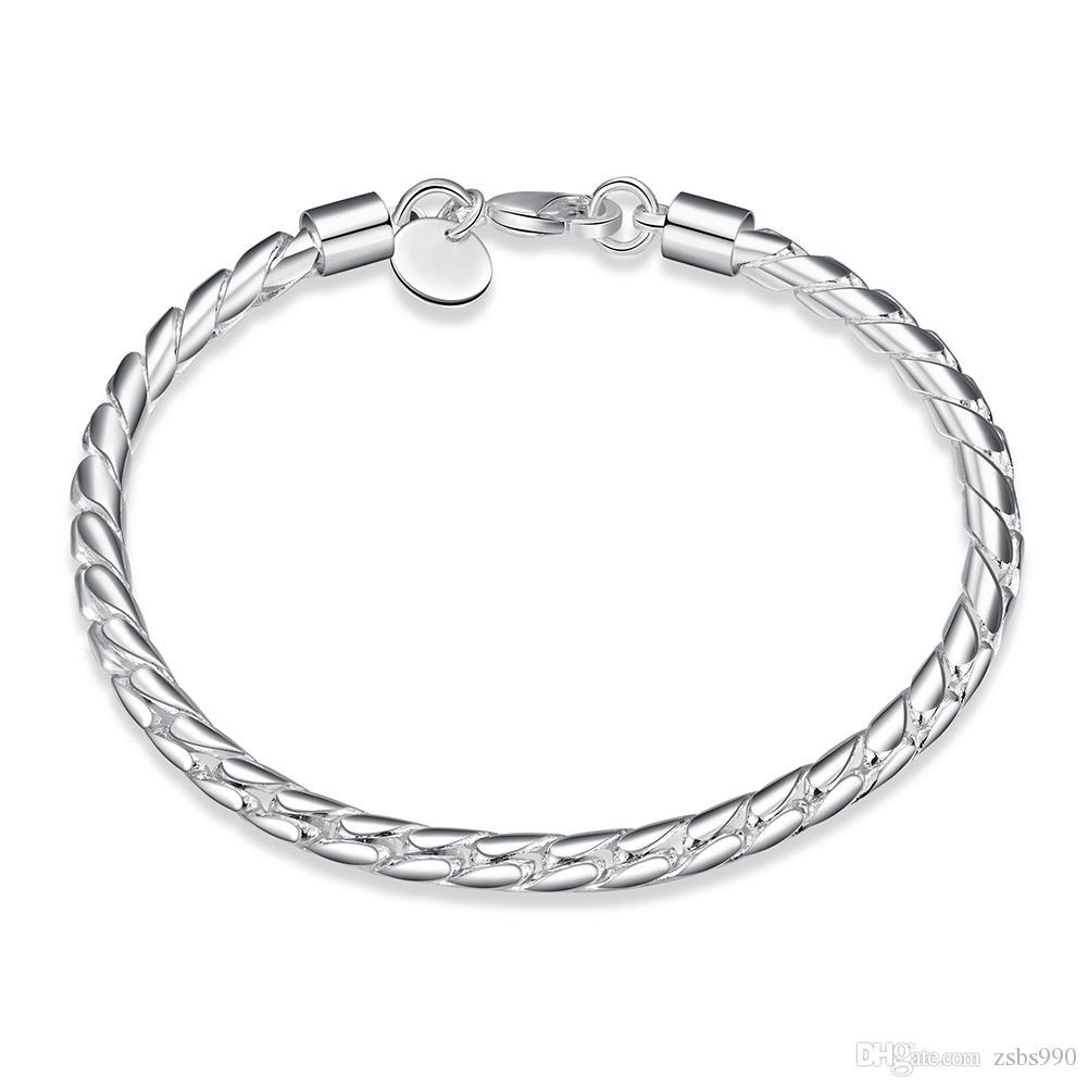 Bracelet en corde torsadée avec breloque en argent 925 de style neutre à la mode 100% nouvelle chaîne de haute qualité bracelet LIVRAISON GRATUITE 10pcs / lot