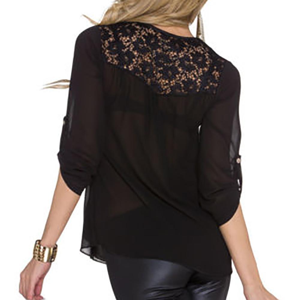 Camicia da donna con cerniera in pizzo chiffon con scollo a V in camicetta da donna in stile estivo 3 colori