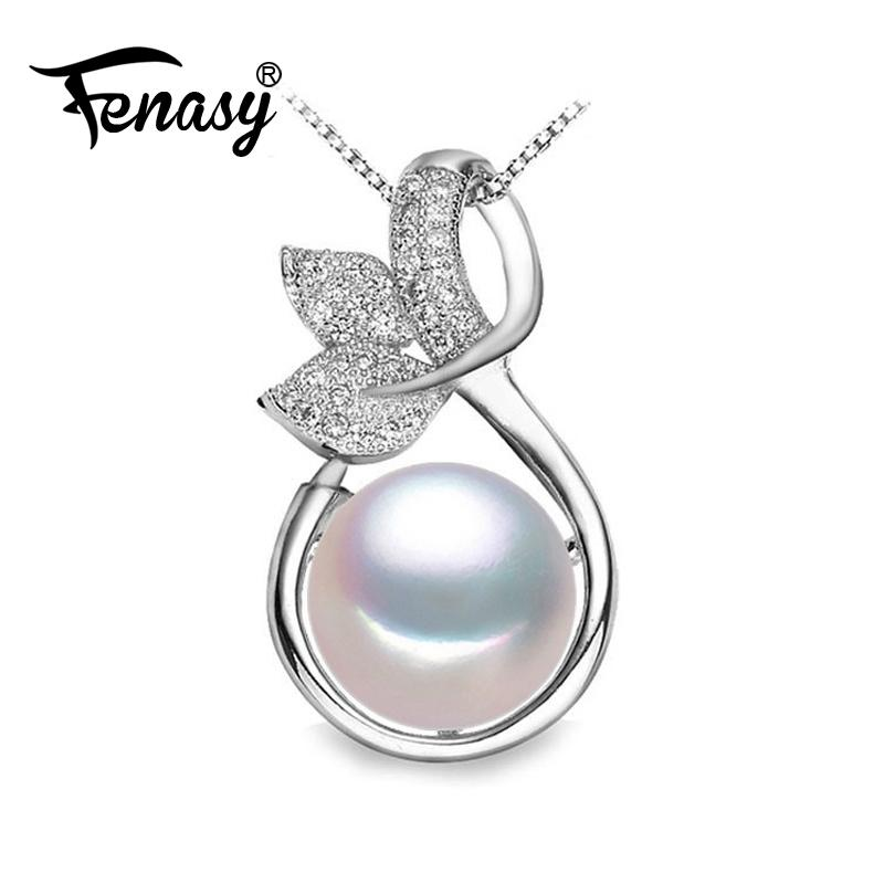 FENASY fairy Necklace design Pearl Pendant,2018 new,fashion style Natural Freshwater Pearl Silver Necklace Pendant for women Y1892806