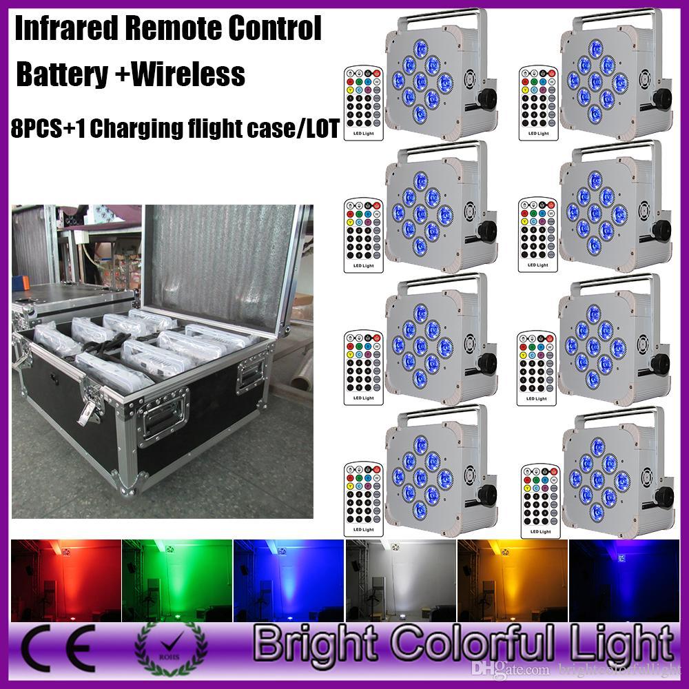 8 шт. С fly case батарейках беспроводной LED Par Uplighting с инфракрасным контроллером для свадьбы партии Event decor 9 * 18 Вт