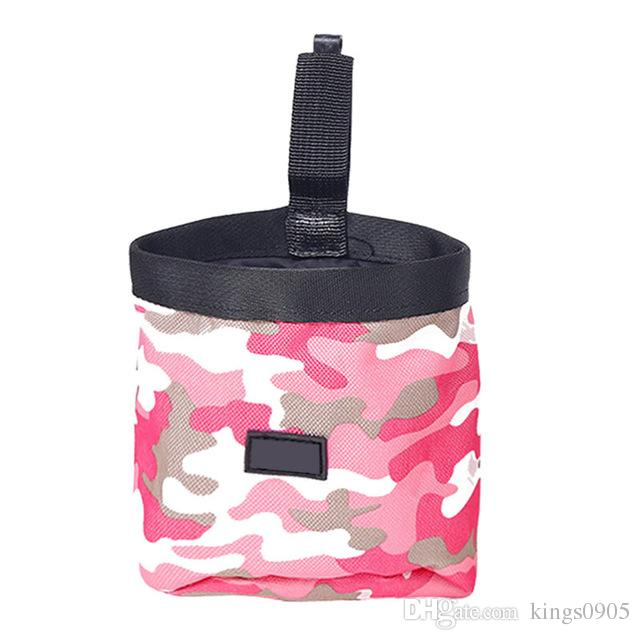 Nuevo hot Green / Pink Pet Dog Puppy Pouch Walking Food Treat Snack Bag Agility Bait Training Bolsillos Cintura Storage Hold Food Container Bag