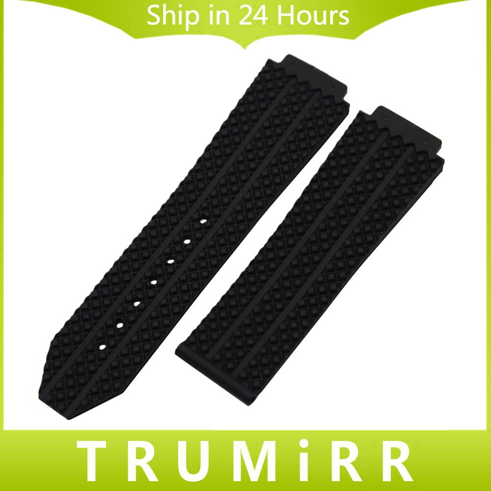 Großhandelskonvexes Silikon-Gummi-Uhrenarmband 26mm x 19mm für HUB-Männer Uhrenarmband-Wiedereinbau-Bügel-Handgelenk-Armband-Schwarz-Blau-Braun-Weiß