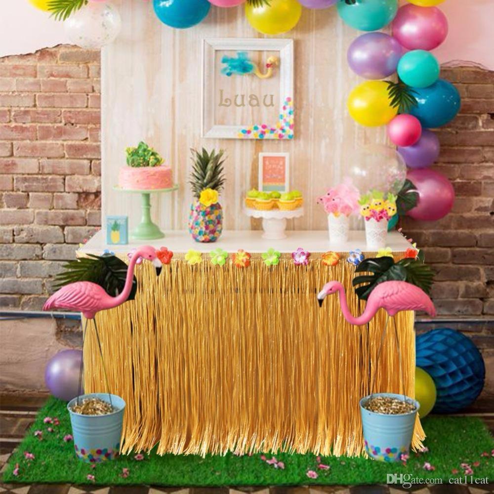 Grosshandel Hawaiian Party Dekorationen Kunstrasen Tisch Rock Mit Hibiscus Tropical Sommer Luau Party Tischdekoration Von Cat11cat 12 07 Auf