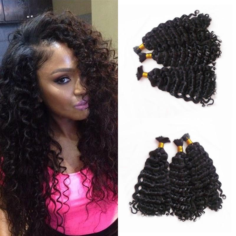 Mongolian Deep Wave Hair Extensions 3 Bundles Human Hair Bulk for Braiding No Attachment 8-30 inch FDshine
