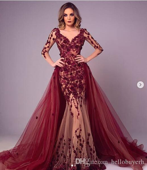Burgundy Lace Sexy Mermaid Evening Dresses South Africa Long Sleeve Picture Zuhair Murad Red Carpet Celebrity Dresses Detachable Trains