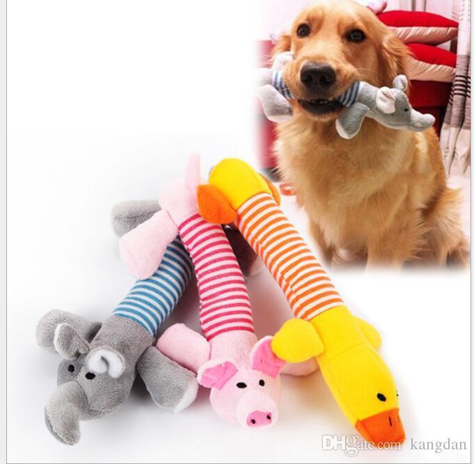 Cão bonito mastiga brinquedo pet filhote de cachorro de pelúcia som chew squeaky squeaky porco elefante pato recheado toys adorável pet brinquedos de pelúcia