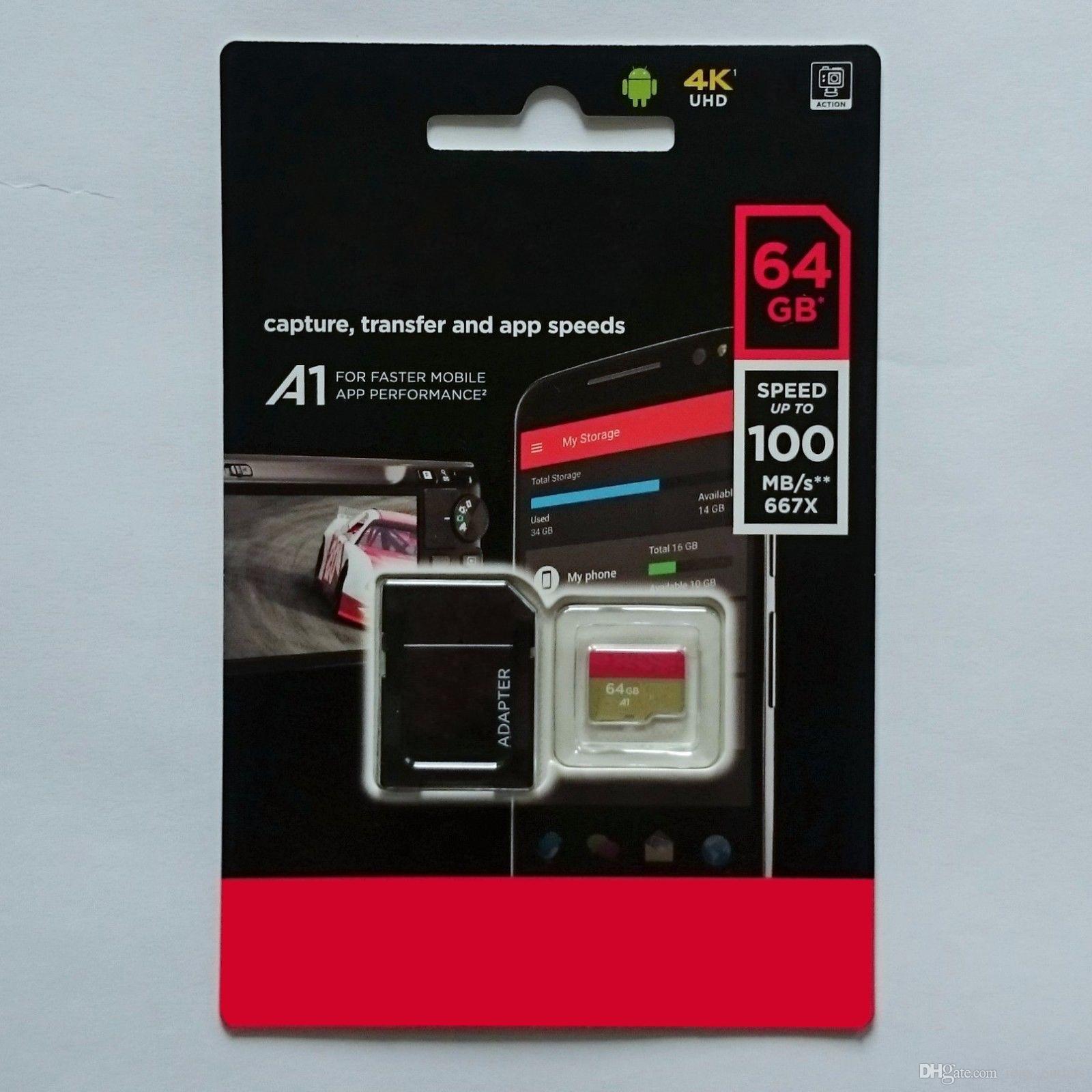 2020 Schwarz Android 95MB / S 32GB 64GB 128GB C10 TF Flash-Speicher-Karte der Klasse 10 frei SD Adapter Einzelhandel Blister Paket Epacket DHL-freies Verschiffen