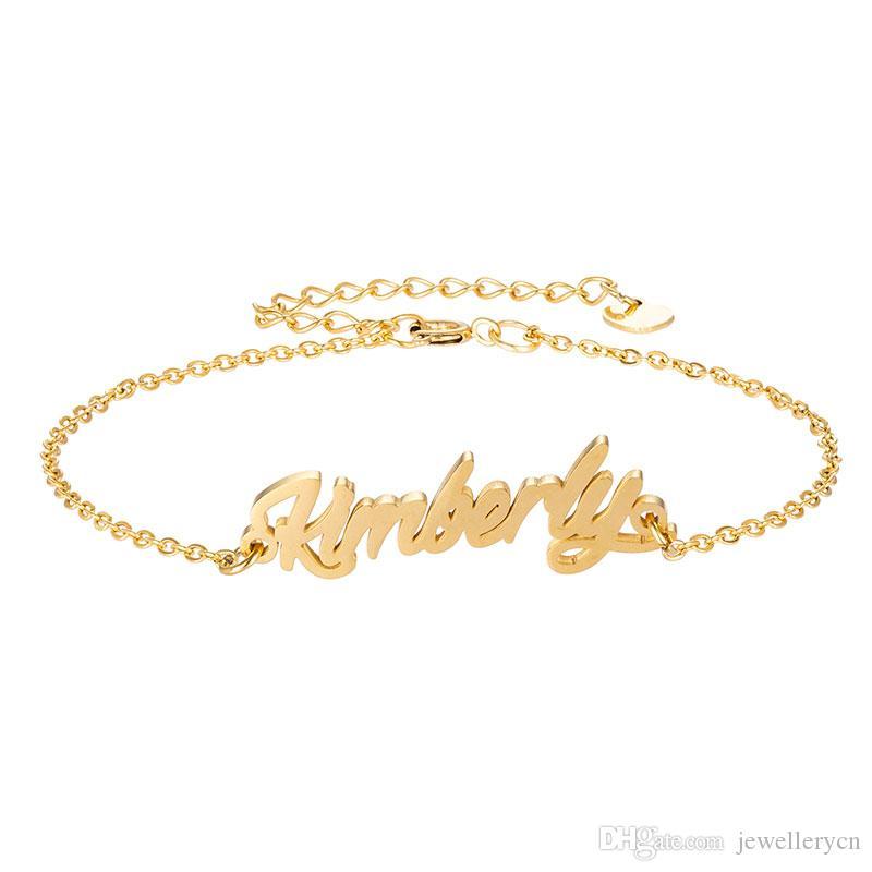 """Edelstahl Gravieren Skript Name """"Kimberly"""" Charm Armbänder für Frauen Personalisierte Benutzerdefinierte Armband Charm Link Weihnachtsgeschenk"""