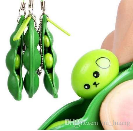Neue Lustige Parodie Heikles Gadgets Grüne Dinosaurier Bohnen Spielzeug Hühnerei Legehennen Crowded Stress Ball Keychain Schlüsselring Relief Geschenk