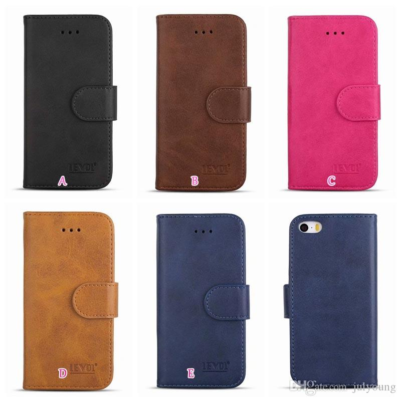 Vintage Leather Wallet Case For Iphone X 10 8 7 6 6S SE 5 5S Galaxy S9 S8 Flip Covers Card Slot Money Pocket Cell Phone Retro Fashion Pouch