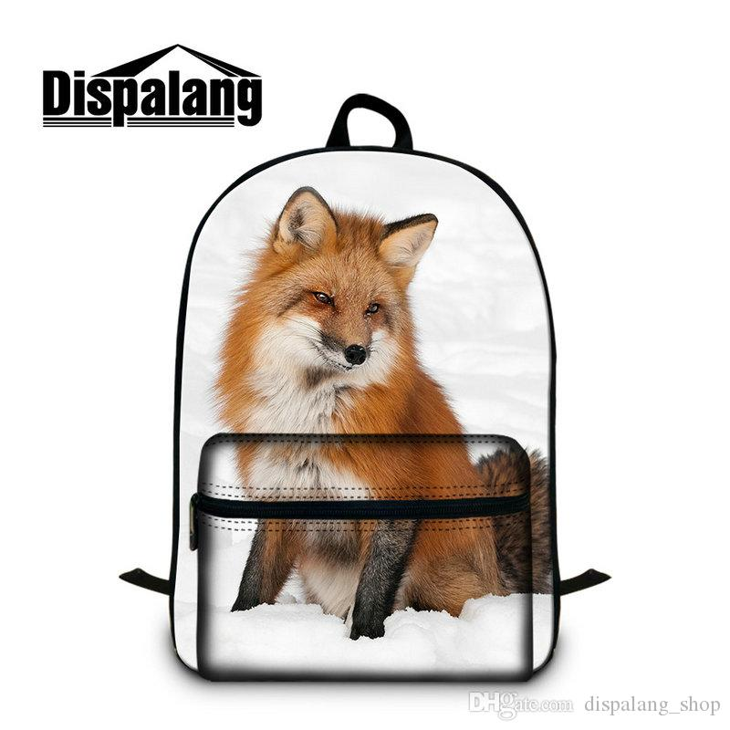 Animals Fox School Backpacks For Junior School Children College Adults Men Women Book bag Shoulder Rucksack With Laptop Pocket 15.5 Inch