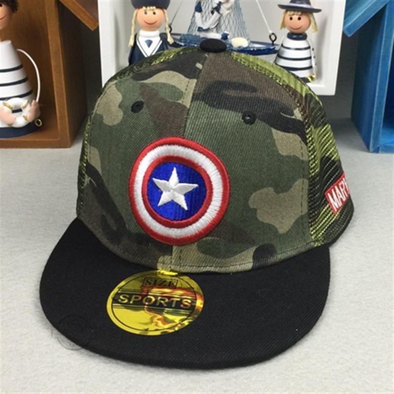 Marvel Spiderman Superman Batman Captain America logo children's embroidery hip hop hat Boy girl summer children baseball cap